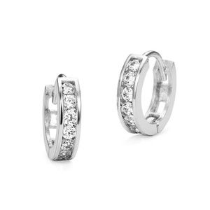 Other - Baby Girl Cubic Zirconia Channel Hoop Earrings